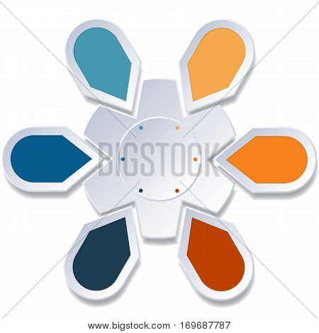 Infographic 6 Points arranged in circle gear on white background