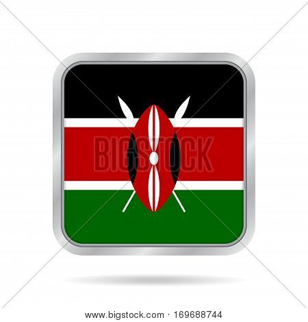 National flag of Kenya. Shiny metallic gray square button with shadow.