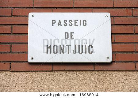 Passeig de Montjuic - street sign in Barcelona Spain poster