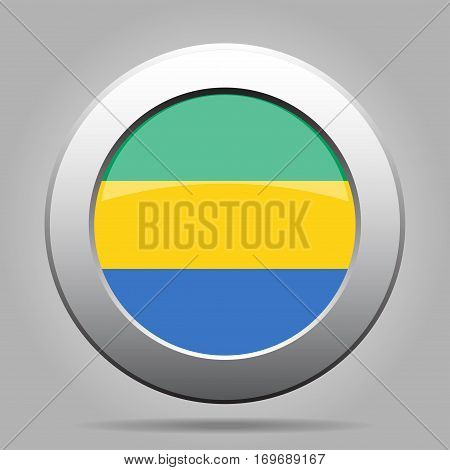 National flag of Gabon. Shiny metal gray round button with shadow.