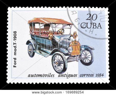 CUBA - CIRCA 1984 : Cancelled postage stamp printed by Cuba, that shows Old vehicle.