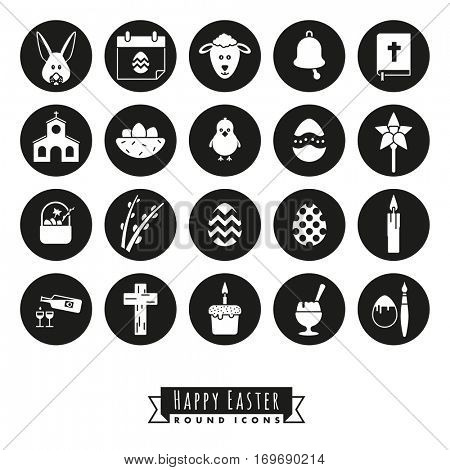Easter Symbols Round Icon Set. Collection of 20 Happy Easter Icons, negative in black circles