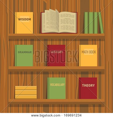 Set of new flat colorful books and tutorials on a bookshelf and one open book. Classbooks and textbooks icons on wood texture. Education symbol logo. Illustration vector art.