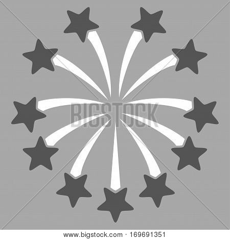 Spherical Fireworks flat icon. Vector bicolor dark gray and white symbol. Pictograph is isolated on a silver background. Trendy flat style illustration for web site design logo ads apps