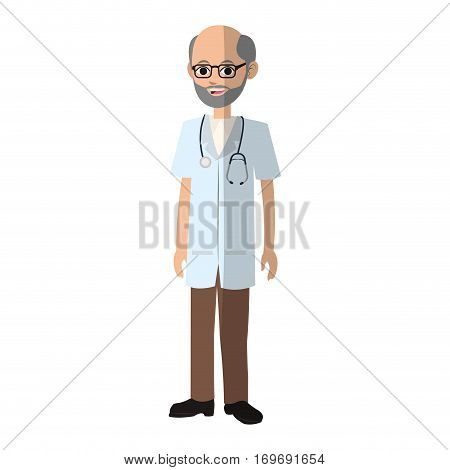 old man medical doctor cartoon icon over white background. colorful desing. vector illustration