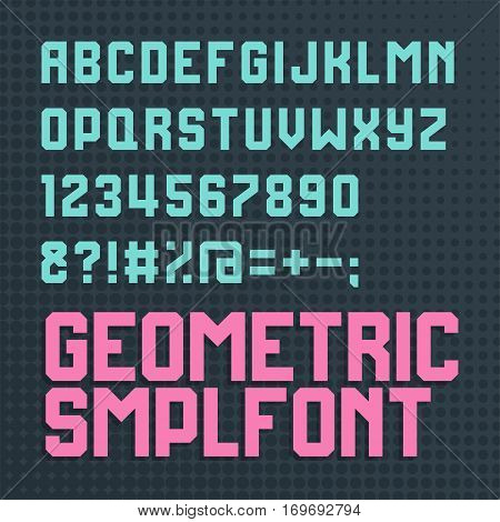 Retro style alphabet font. Cyan and magenta colour. Element for poster, banner or web design. Vector illustration art.