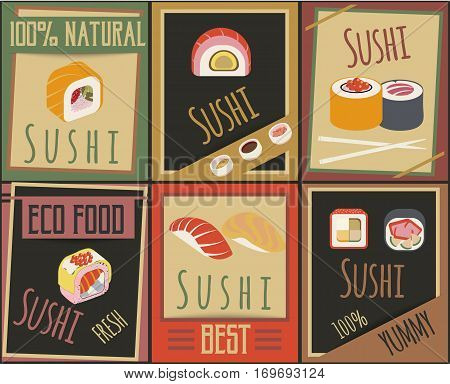 Traditional japanese food cards with different types of sushi ingredients and chopsticks vector illustration
