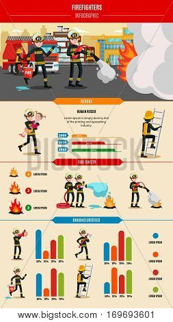 Colorful firefighting infographic concept with professional firefighters in uniform rescue equipment and tools vector illustration