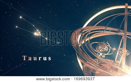 Zodiac Constellation And Armillary Sphere Over Blue Background. 3D Illustration.