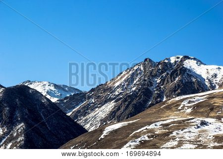 Mountain landscape, beautiful view of snow slopes, nature of the North Caucasus, Ossetia