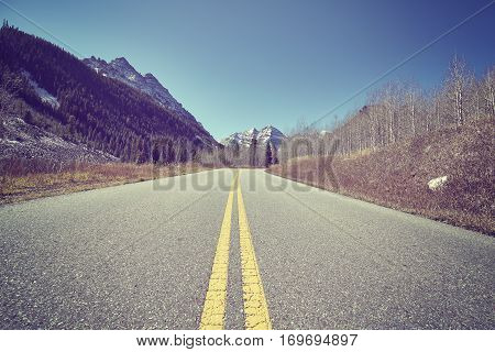 Vintage Color Toned Scenic Road, Travel Concept, Usa
