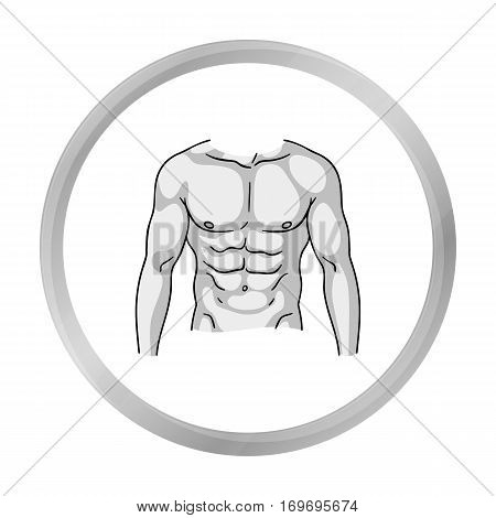 Muscular torso icon in monochrome style isolated on white background. Sport and fitness symbol vector illustration.