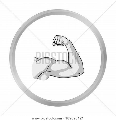 Biceps icon in monochrome style isolated on white background. Sport and fitness symbol vector illustration.