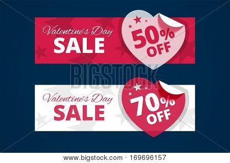 Valentines day sale banners. Red and white versions with transparent paper hearts. 50 and 70 percents off. Vector illustration.