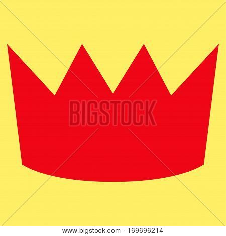 Crown flat icon. Vector red symbol. Pictograph is isolated on a yellow background. Trendy flat style illustration for web site design logo ads apps user interface.