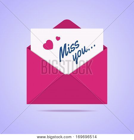 Envelope icon with miss you letter. Heart shapes with text on a paper. Vector illustration in flat style.