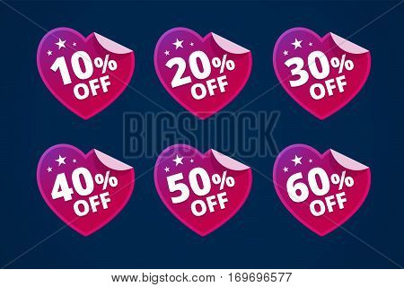 Paper hearts with discounts. Stickers for sale. From 10, 20, 30, 40, 50 and 60 persents off. Vector illustration.