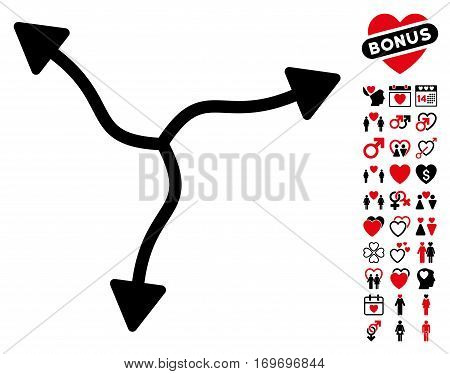 Curve Arrows icon with bonus love icon set. Vector illustration style is flat rounded iconic intensive red and black symbols on white background.