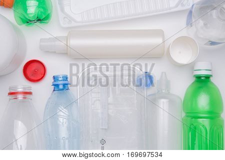 Plastic bottles on empty table