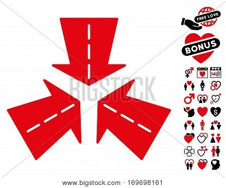 Merge Directions icon with bonus romantic design elements. Vector illustration style is flat rounded iconic intensive red and black symbols on white background.