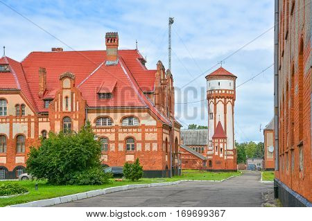 Old German houses and water tower in East Prussia.