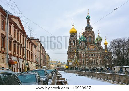 Church of the Resurrection of Christ in St. Petersburg in winter.