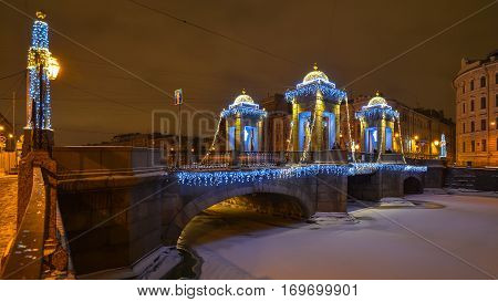 Lomonosov Bridge in St Petersburg winter night.
