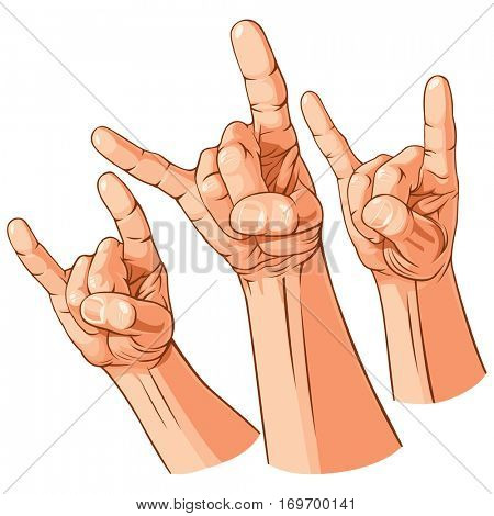 Set of three heavy metal hands (Sign of the horns gesture). Vector Illustration