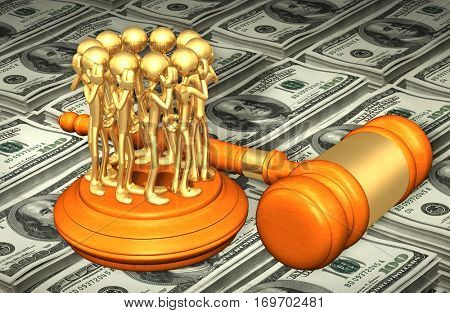 Hearsay Law Legal Gavel Concept 3D Illustration