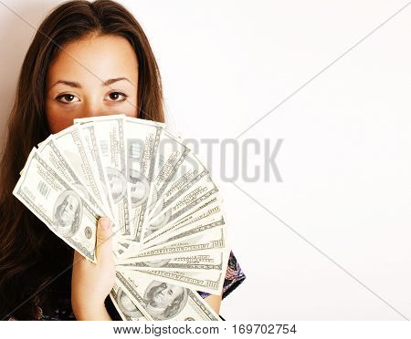 portrait of pretty young woman with money, isolated on white background, dolars cash