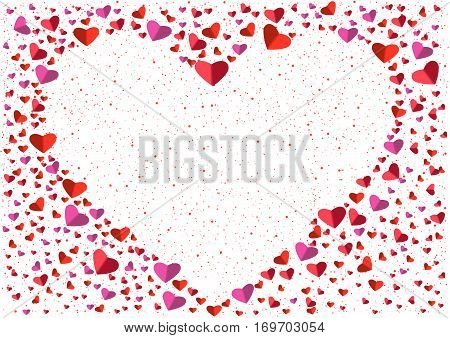 White heart frame from small and big flat hearts. Valentine card. Congratulation enamored day. Beautiful love confession