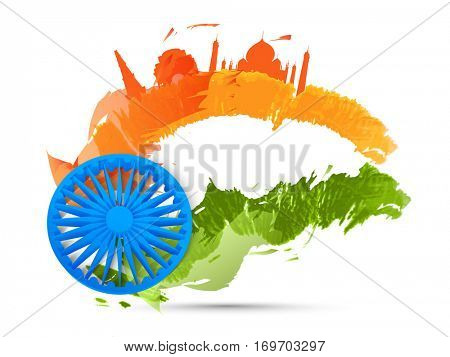3D Ashoka Wheel with National Tricolours Waves and Famous Historical Monuments for Indian Republic Day celebration.