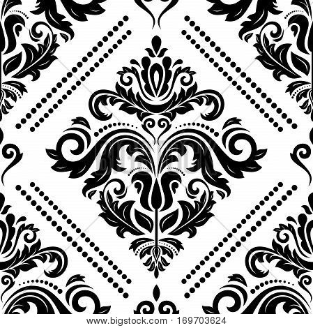 Seamless classic vector pattern. Traditional orient ornament. Classic vintage black and white background