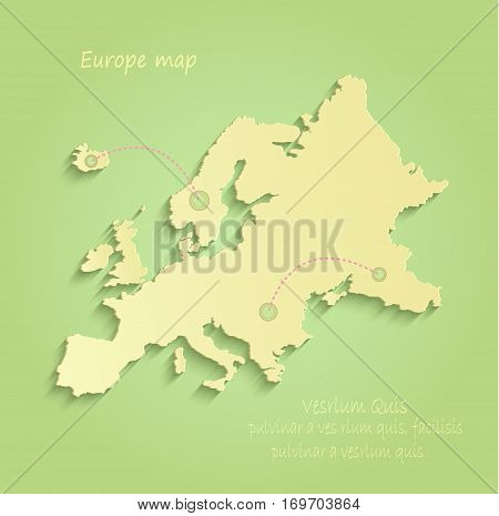 Europe map green yellow vector infographic template