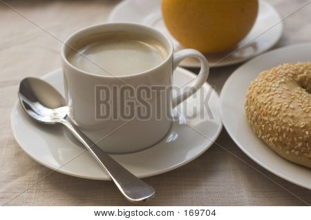 Coffee, Orange, Bagel