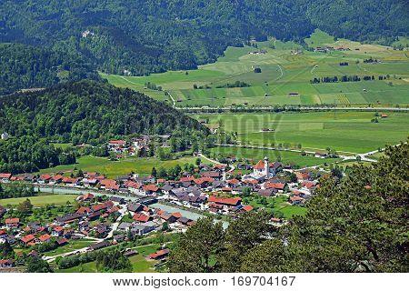 View From Mountain To Eschenlohe Village