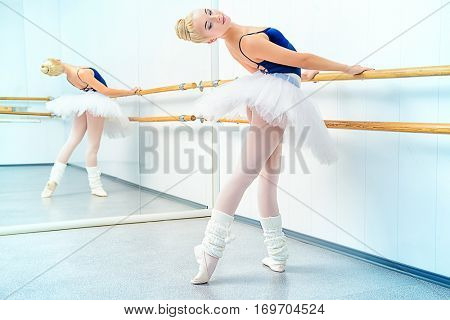 Beautiful ballet dancer training near the ballet barre in a ballet class.