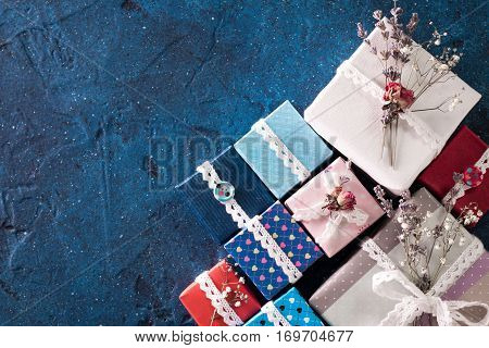 Presents For Any Holiday Concept. Gift Boxes Frame, Top View With Copy Space