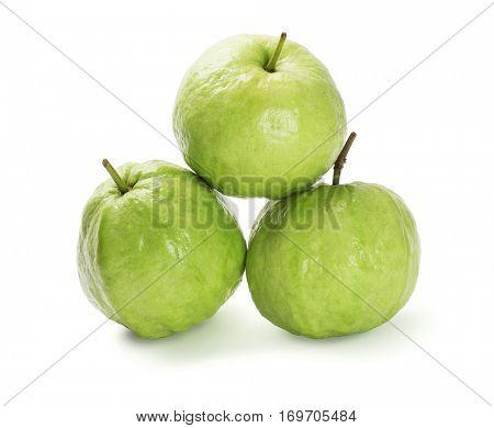 Tropical Guava Fruits on White Background (Psidium guajava)