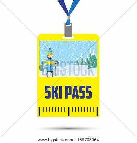 ski pass template with barcode.blue ribbon .inventory for winter holidays.flat design