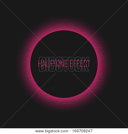 Pink halftone ring with white circle and text label in the middle. Modern abstract vector design element with backlight effect.