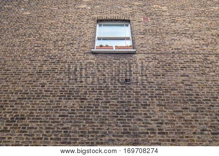 A small window up high with two plants in rectangular pots in a large old bricks wall with a lot of dead space.