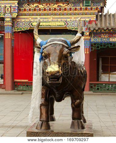 Bronze Bull In Dazhao Temple, Hohhot, Inner Mongolia