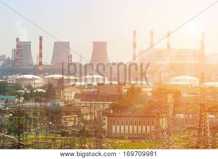 Extreme industry area in Moscow district Kapotnya. Here are refinery plant thermal power station electric lines and stations. Kapotnya is a most ecological dangerous place for living in Moscow.