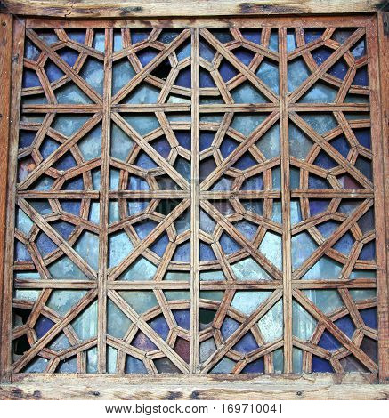 Decorative Carved Wooden Lattice On The Old Window