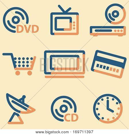 Media icons, light blue contour