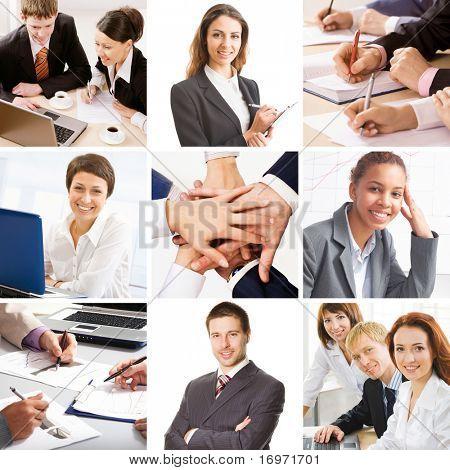 Colagem ilustra Finanças, comunicação, interação, estilo de vida do negócio