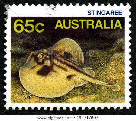 AUSTRALIA - CIRCA 1984: A used postage stamp from Australia depicting an illustration of a Stingray circa 1984.