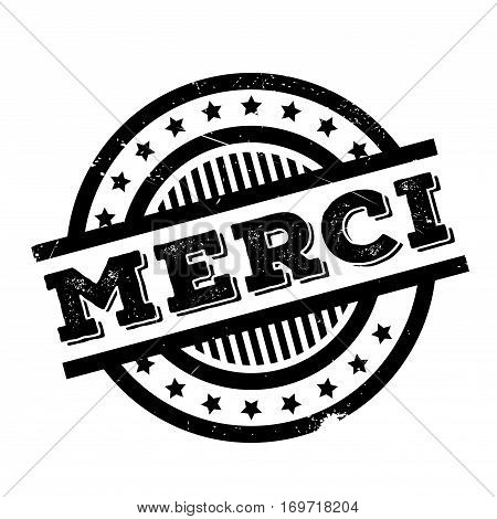 Merci rubber stamp. Grunge design with dust scratches. Effects can be easily removed for a clean, crisp look. Color is easily changed.