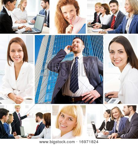 Collage illustrates finance, communication, interaction, business lifestyle